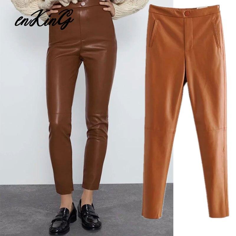2020 England Office Lady Simple Vintage Skinny Pencil Leather PU Za Pants Women Pantalones Mujer Pantalon Femme Trousers Women