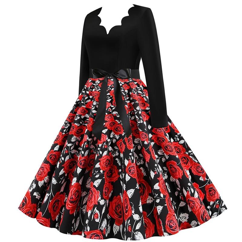 Women Long Sleeve Winter Vintage Dresses Sexy Black Music Note Print V-neck Rockabilly Pin up Party Dress Vestidos Plus size 668