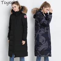 Tcyeek Winter Down Coat Female Brand Clothes 2020 Korean Long Duck Down Jacket Raccoon Fur Hooded Thick Warm Overcoat Hiver 8726