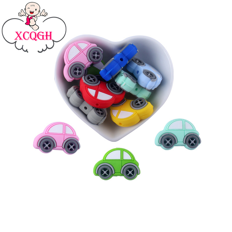 XCQGH 5PCS New Food Grade Silicone Mini Car Silicone Loose Beads Pacifier Chain Baby Molar Teether Beads