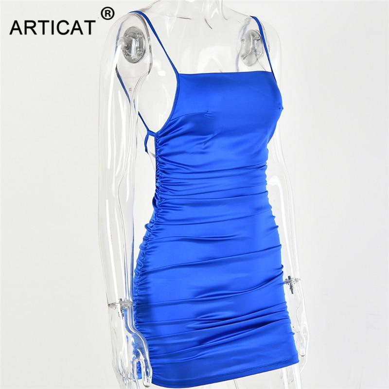 Articat Spaghetti Strap Mini Satin Dress Women Sexy Backless Cross Bandage Bodycon Party Dress Pleated Stretch Short Club Dress