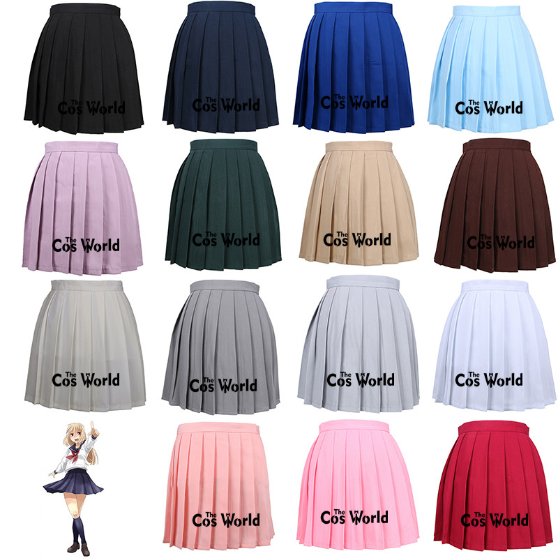 XS-3XL 17 Solid Colors Girl's Japanese Summer High Waist Pleated Skirts Women's Dress For JK School Uniform Students Cloths