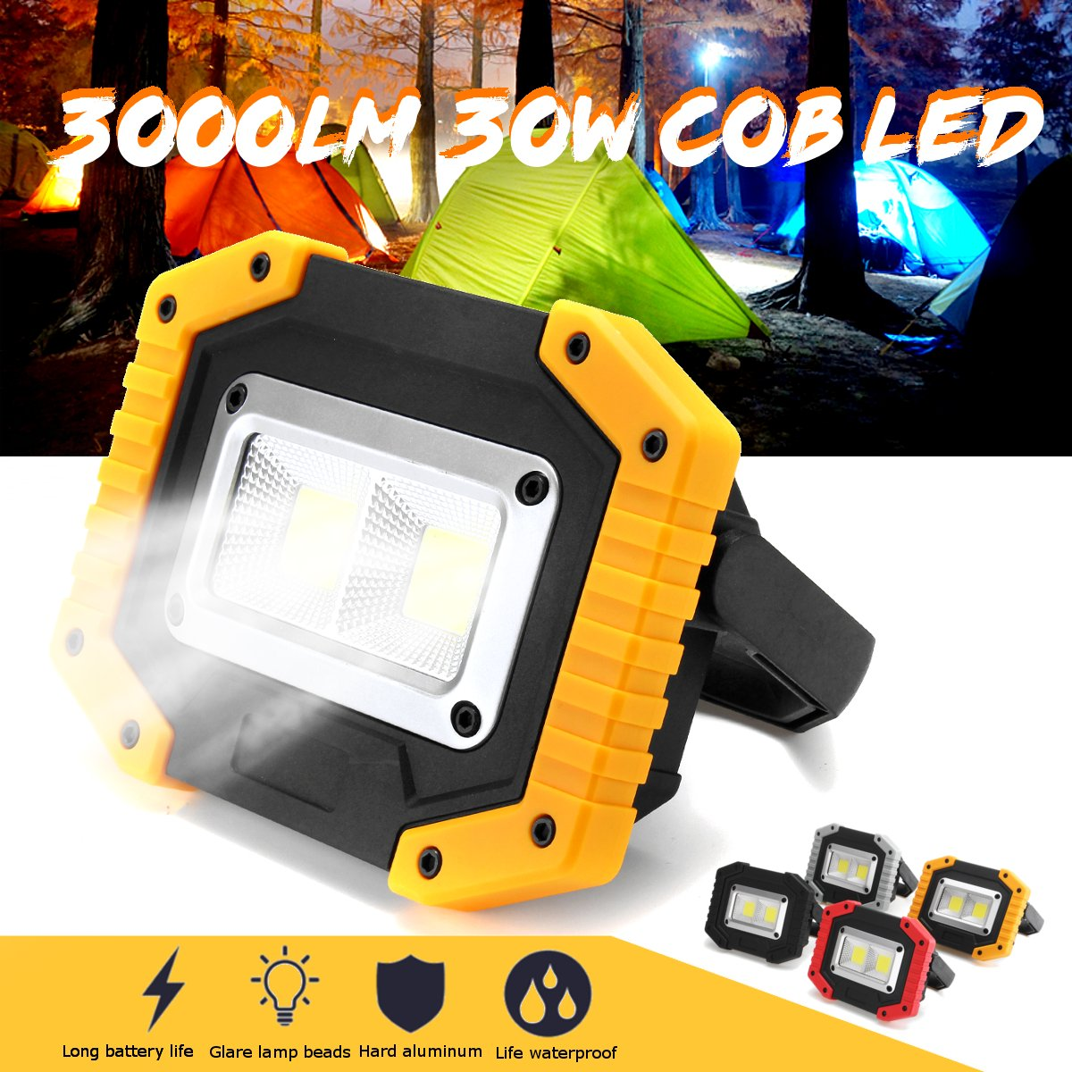 30W 2 COB Work Light USB Charging Waterproof Floodlight 18650 Rechargeable Battery Powered Portable Led Searchlight Camping