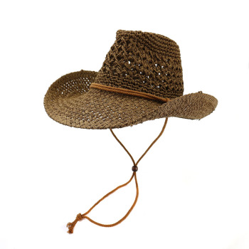 Sun Hat Women Summer Cowboy Panama Straw Beach Wide Brim String Breathable Outdoor Cap Accessory For Lady image