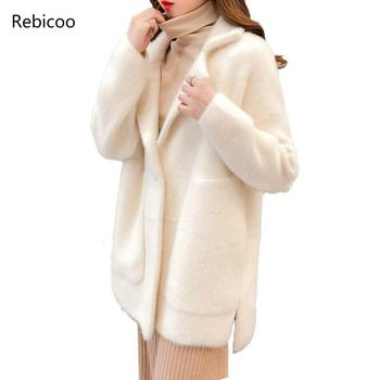 Women  Spring Autumn Faux Mink Cashmere Cardigan Female Elegant Solid Sweater Lady Thick Warm Knitted Sweaters