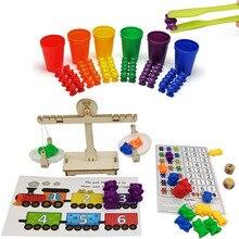 Идеальный подсчет медведей с штабелирование чашек набор-Монтессори Радуга соответствующие игры, образовательные цвета сортировки Игрушки для малышей