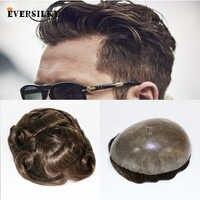 Eversoyeux peau Durable cheveux naturels hommes toupet naturel à la recherche indien Remy cheveux clair Poly Base hommes humains cheveux remplacements