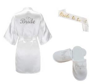 New 3pc set of glitter silver bride robe satin short robe women slippers bridal sash peignoir wedding Party 2019 kimono robes(China)