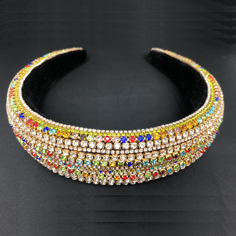 Moda de Luxo Senhoras Colorido Strass Cristais Pedras Hairband Headbands Prata Ouro Negro Palco Cantor Mostrar Acessórios