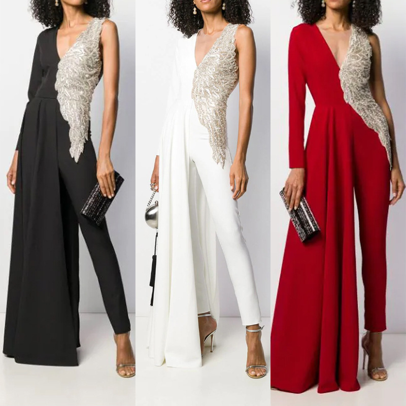 Women Sexy Jumpsuit Lace Patchwork One Sleeve Mesh Transparent Elegant Modern Office Lady Chic Long Pants Rompers Fancy Overalls
