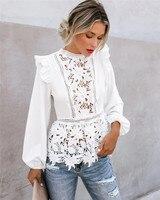 Женские богемные кружевные белые топы с длинным рукавом и цветочным принтом, блузки с открытой спиной, летняя пляжная элегантная рубашка ...
