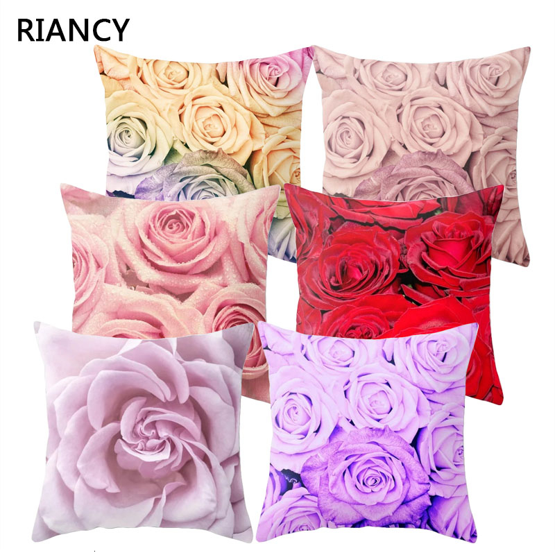 1Pcs Rose Flowers Cushion Cover 45*45cm Nordic Style Home Decoration Throw Pillow For Sofa Bed Car Pillow Case 40827