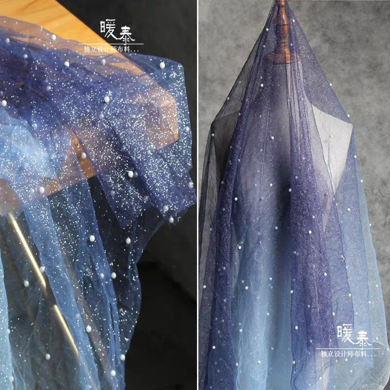 Beads Perspective Blue Gradients Sparkle Mesh Gauze Fabric Vestidos Fashion Dress Background Dress Valance Design Fabric DIY