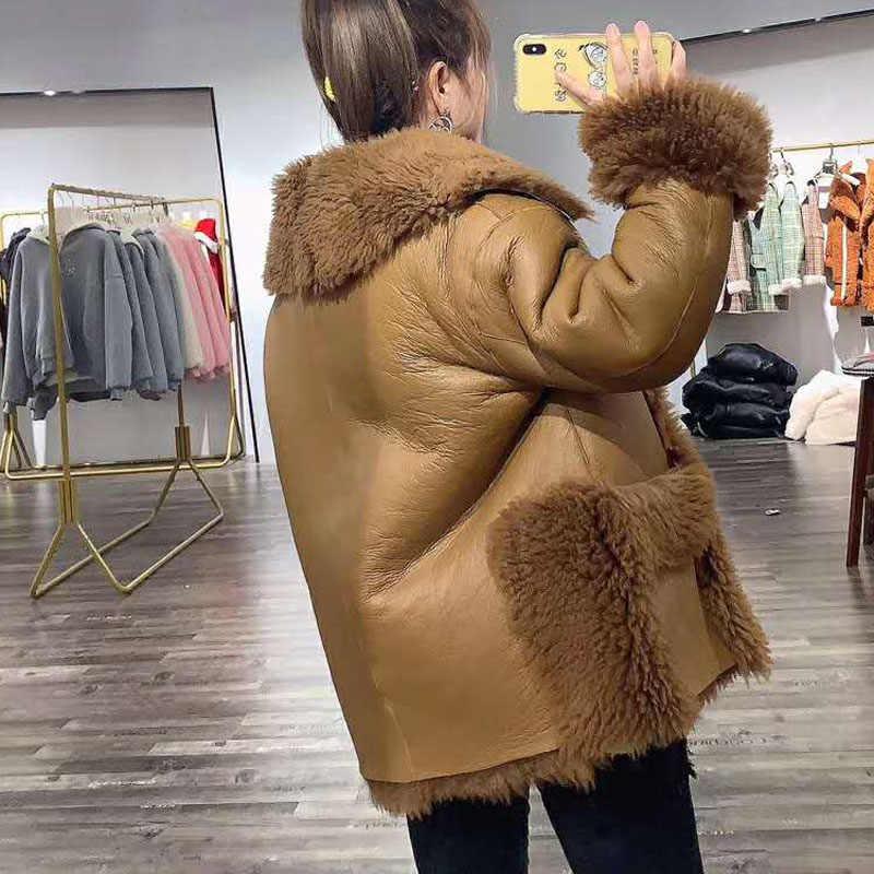厚い暖かい冬コート女性ロシア雪の自然リアル羊の毛皮のコート soild 本革ジャケット女性ターンダウン襟