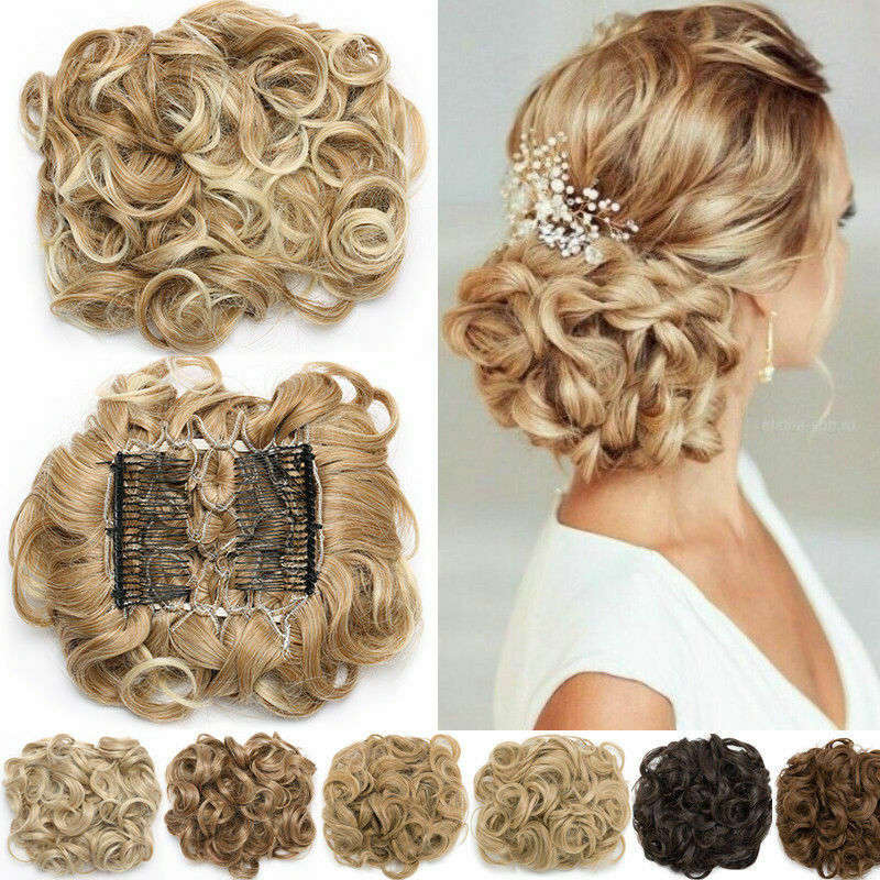 Hair-Extension Chignon Updo-Cover Curly Clip-In Synthetic LARGE Women S-Noilite Comb