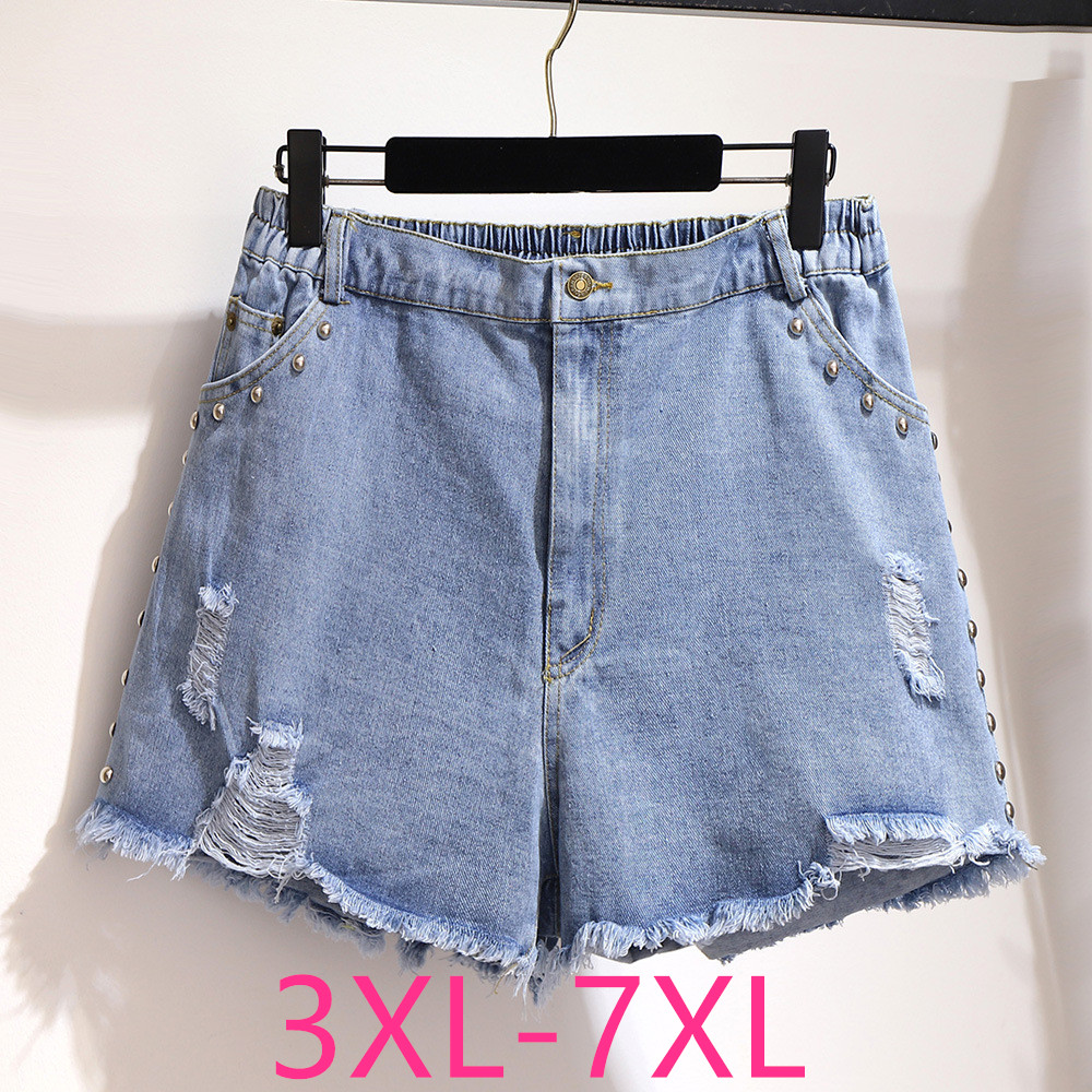 New 2020 Summer Plus Size Denim Shorts For Women Large Loose Casual Elastic Waist Rivet Blue Hole Jeans Shorts 4XL 5XL 6XL 7XL