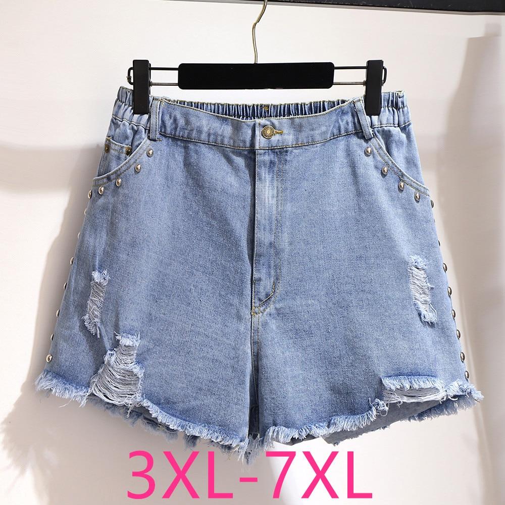 New 2020 Summer Plus Size Denim Shorts For Women Large Loose Casual Elastic Waist Rivet Blue Hole Jeans Shorts 4XL 5XL 6XL 7XL