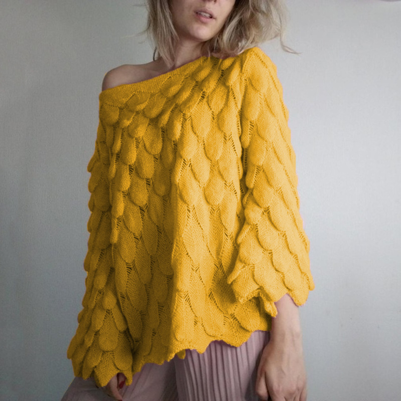 Flare Sleeve Feather Knitted Sweater Women Loose Casual Thin Pullovers Spring Autumn Slash Neck Perspective Tops in Pullovers from Women 39 s Clothing