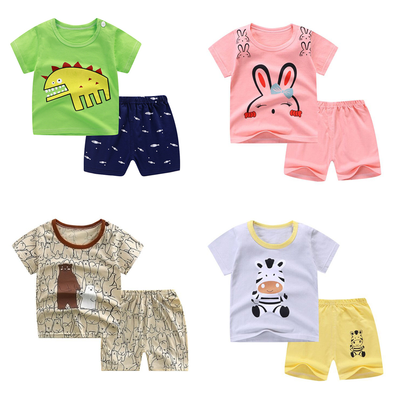 Toddler Boys Clothing Set Girls Outfits Kids Cotton Short O-Neck Shorts Pullover ShortsTwo-pieceSuit Toddler Girl Clothes