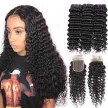 Сапфир бразильские волосы плетение 3 пряди с 4*4 Кружева Закрытие Remy волосы глубокий вьющиеся человеческие волосы глубокая волна пряди с закрытием