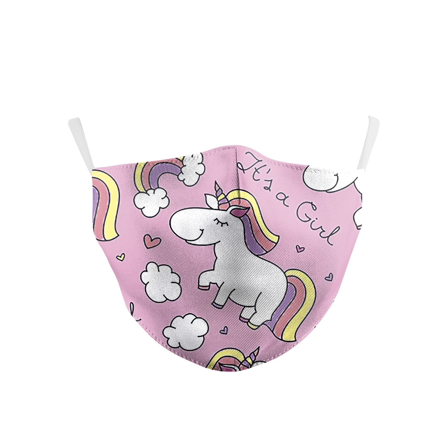 Cute Cat Pink Unicorn Kids Face Masks Print Fabric Masks Washable PM 2.5 Protective Dust Children Mouth-Muffle Earloop Reusable