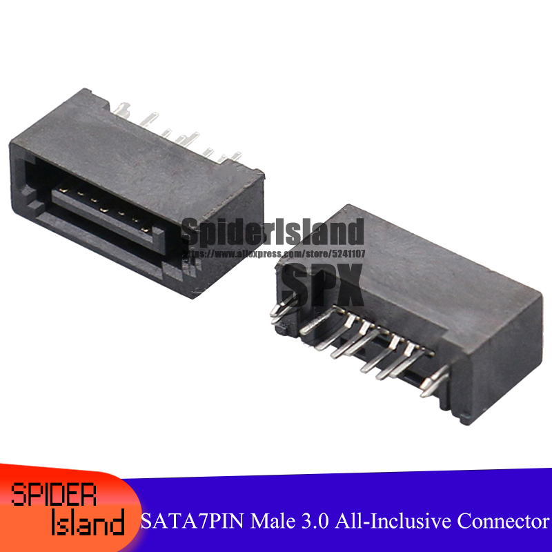 50pcs / 100pcs SATA 7Pin Male All-Inclusive Type A 3.0 Double Row 180 Degrees Interface For PCB DIY