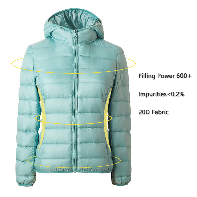 Coat Hooded-Jackets Parka Ultralight White-Duck-Down Women Female Warm Thin Winter Autumn