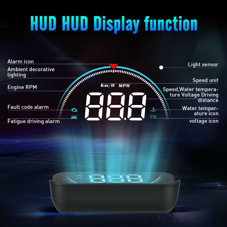 Geyiren M8 カーhudヘッドアップディスプレイOBD2 ii euobd速度超過警告システムプロジェクターフロントガラスオート電子電圧アラーム
