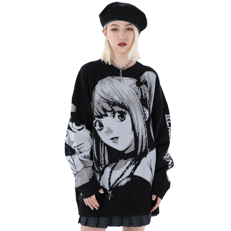 Mens Cartoon girl Knitted Loose Sweaters Streetwear 2020 Winter HipHop Unisex Casual Vintage Oversize Couple Pullovers Sweater