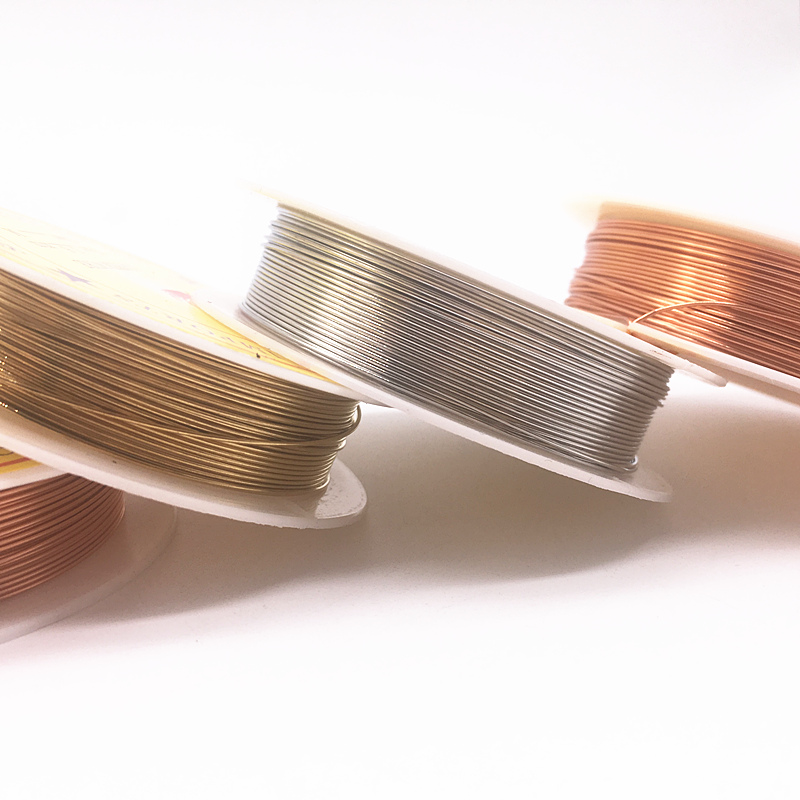 Wholesale 0.2/0.3/0.4/0.5/0.6/0.7/0.8/1.0 Mm Brass Copper Wires Beading Wire For Jewelry Making, Gold Bronze And Silver Colors
