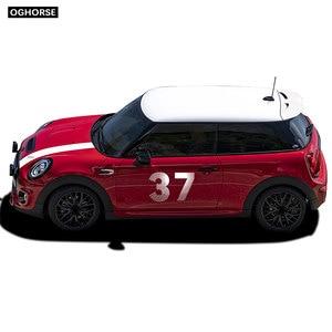 Image 2 - car styling Door Side Hood Bonnet Stripes Vinyl Decal Stickers for mini cooper R50 R52 R53 R55 R56 R57 R60 R61 F54 F55 F56 F60
