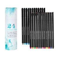 24 Kleuren Art Markers Pen Dual Tipsbrushing Aquarel Pennen Met Fineliner 0.4 Markers Pen Set Voor Kalligrafie Tekening