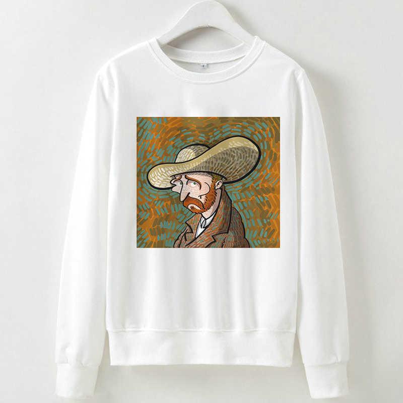 Áo Nỉ Nữ Có Mũ Trùm Đầu Van Gogh In Hình Khoác Áo Thun Bé Gái Tay Dài Thời Trang Thu Đông Trắng Size +