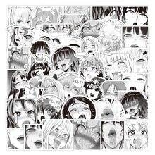 52 шт черный белый цвет аниме waifu наклейки мультфильмов пикантная