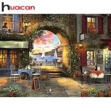 Huacan – peinture de diamant de paysage 5D, Kits de broderie de ville, carrés ou ronds, à faire soi-même, décorations de maison