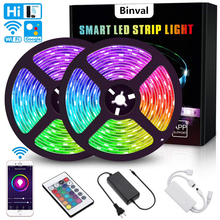 Binval WiFi LED Light Strip 5/10M RGB 5050 Tape Lights Color Changing With Remote For TV Bedroom Party Bar