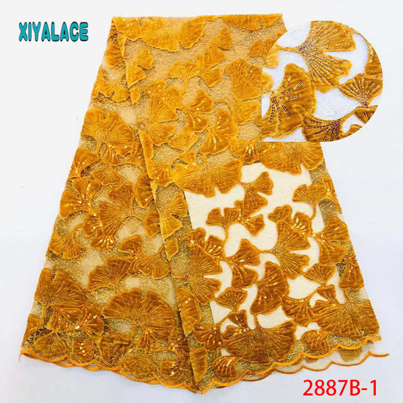 5 Yards Gold Lace Mesh Base Sequined Fabric Spot Chiffon Embroidery Wedding Gown Sequined Embroidery Fabric YA2887B-1