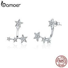 BAMOER-boucles d'oreilles en argent Sterling 925 authentique pour femmes, vestes d'oreilles lumineuses, en CZ transparent, bijoux, cadeaux pour dames 925