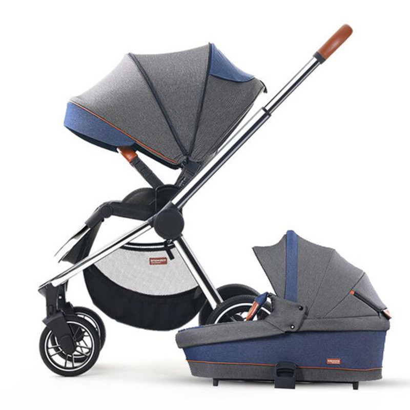 Babyfond Luxury baby stroller 2 in 1 high landscape Newborn Carriage Two way baby Pram  can sit two-way sleeping basket stroller