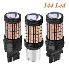1156 ba15s P21W 1157 bay15d P21/5W 3157 3156 T20 7443 W21/5W 7440 W21W bau15s 144 หลอดไฟ LED ไฟเบรกรถยนต์โคมไฟย้อนกลับอัตโนมัติ
