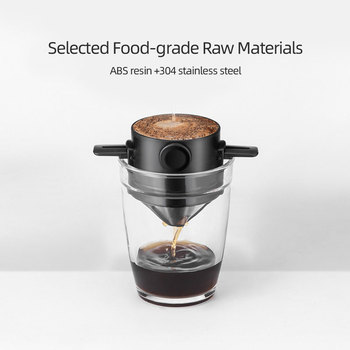 Coffee Filter Portable 304 Stainless Steel Drip Coffee Tea Holder Funnel Baskets Reusable Tea Infuser and Stand Coffee Dripper 3