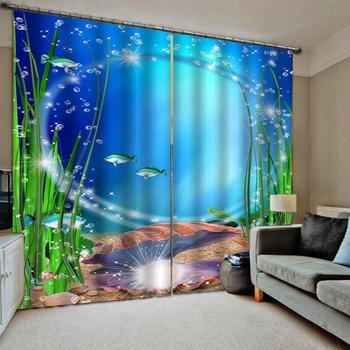 家の装飾 3D カーテンリビングルームの夢子供ルームカーテン水中世界写真既製カーテン