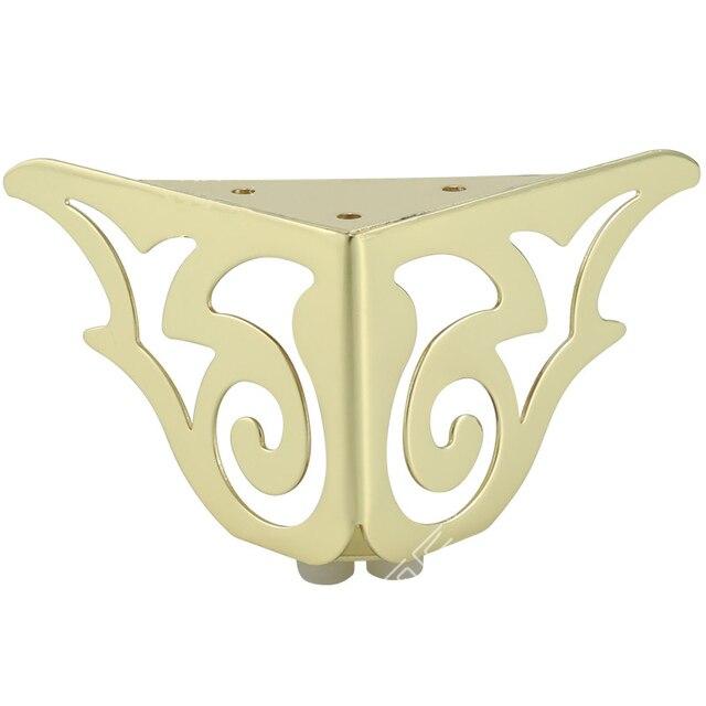 4 adet altın desen Metal mobilya ayakları kanepe ayak firkete bacaklar firkete bacaklar mobilya koruma ayak donanım yatak yükseltici