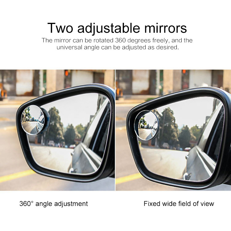 2PCS Car Rearview Spot Mirror Borderless 360 Degree Wide Angle Round Convex Mirror Blind Spot Auto RearView Car Accessories