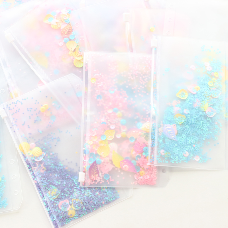 Domikee Creative Cute Kawaii School Student Girls Decoration Sequins 6 Holes Inner Pocket For Binder Planner Diary Notebook A5A6