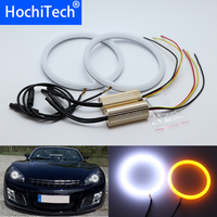 White & yellow Dual and only white Cotton LED Angel eyes kit halo ring Turn signal light for Opel GT Roadster 2007 2010