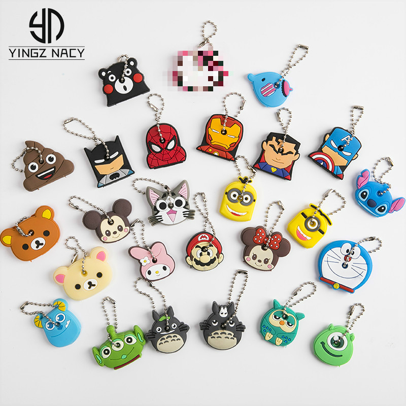 Cute Cartoon Silicone Stitch Keychain For Women Men Anime Key Cover Cap Mickey Bear Gift Owl Key Ring Porte Clef Minne Key Chain(China)