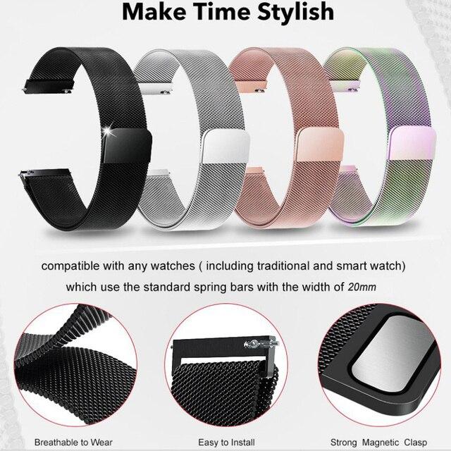 Pour Samsung galaxy montre Active 2 44mm 40mm Active2 libération rapide montre bracelet milanais magnétique acier inoxydable bracelet de montre