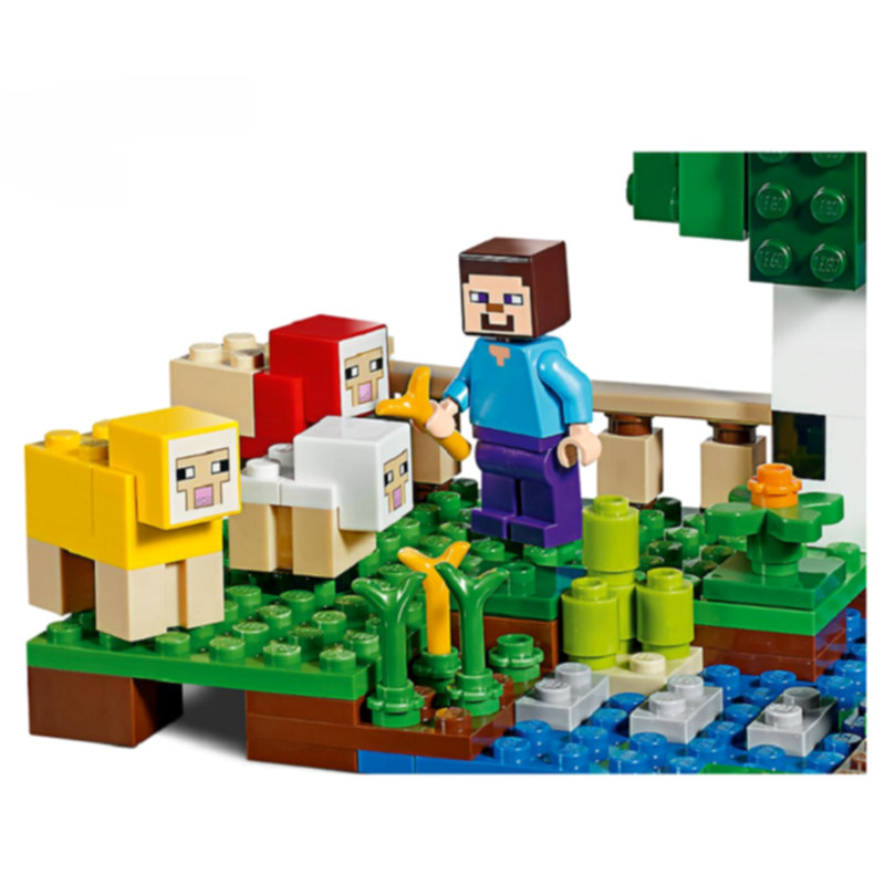 The Wool Farm Building Blocks With Steve Action Figures Compatible LegoINGlys MinecraftINGlys Sets Toys 21153 14