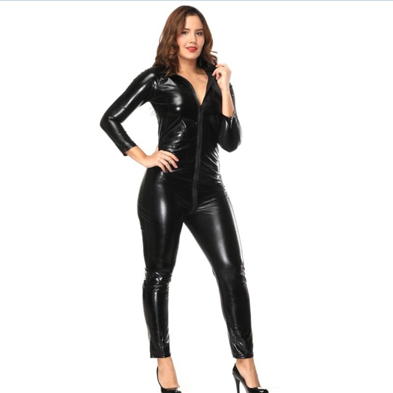 Женский костюм-кошка из искусственной кожи на молнии, с перчатками